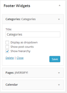 Custom headings in WordPress footer