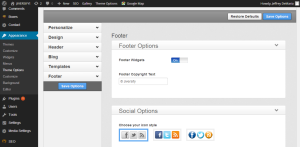 Footer activation in WordPress